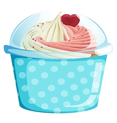 A dotted blue cupcake container vector image