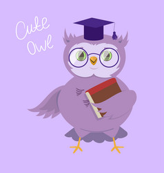 A wise owl with glasses and a university cap vector