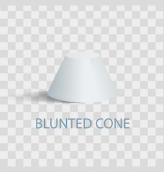 Blunted cone isolated geometric figure in white vector