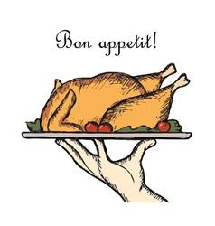 Bon appetit delicious dish element for a vector