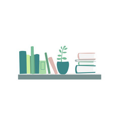 Books standing and lying on shelf house plant vector