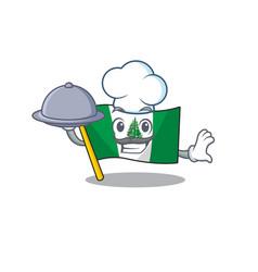 Cartoon design flag norfolk island as a chef vector