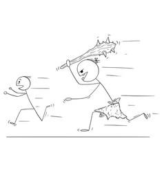 Cartoon of scared man running away from caveman vector