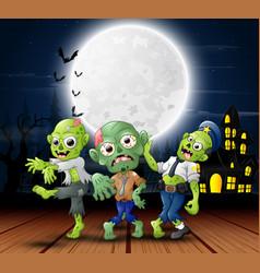 cartoon three zombie celebration a halloween party vector image