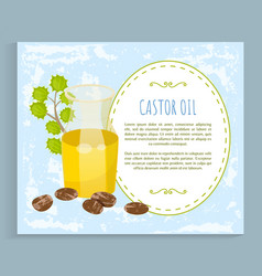 castor oil jar with essence cosmetics ingredient vector image
