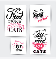Cat banner set vector