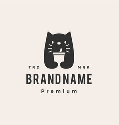 cat drink cup negative space hipster vintage logo vector image