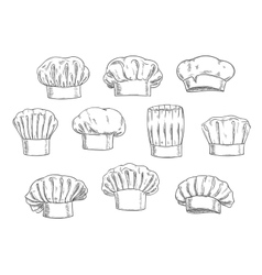 Chef hat cook cap and toque sketches vector image