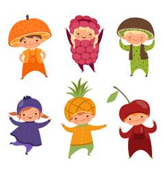 children in fruit costumes pictures vector image
