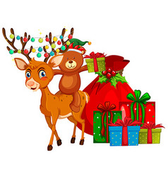 Christmas theme with reindeer and presents vector