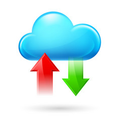 Cloud with two arrows on white background vector