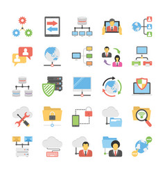 collection of communication and networking icons vector image