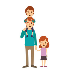 Colorful image caricature young father with boy on vector