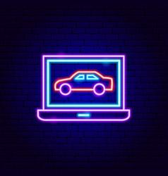 Computer car diagnostics neon sign vector