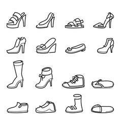 continuous line men and women shoes set vector image