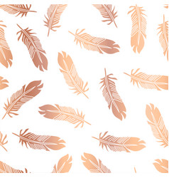 copper foil feathers seamless pattern vector image