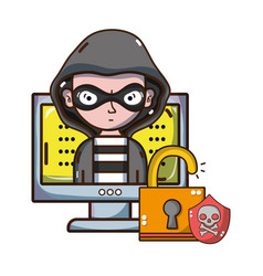 cybersecurity threat cartoons vector image
