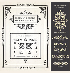 Decorative ornate elements and frames vector