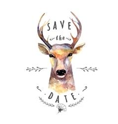 deer watercolor save date vector image