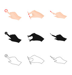 Design of touchscreen and hand sign vector
