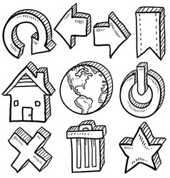 Doodle icons internet computer vector