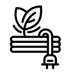 eco leaf plug icon outline style vector image