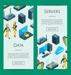 electronic system of data center icons web vector image
