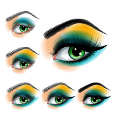 eye shadow make up step step vector image