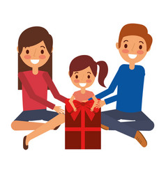 family parents and daughter sitting with red gift vector image