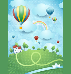 Fantasy landscape with hot air balloons and river vector