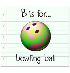 Flashcard letter b is for bowling ball vector