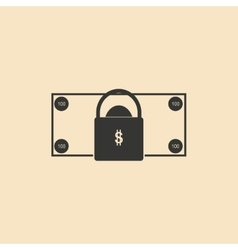 Flat in black and white money lock vector