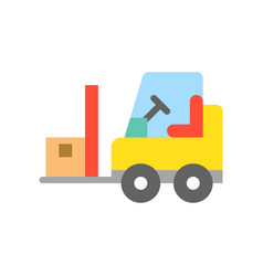 Fork lift car with parcel flat icon logistic and vector