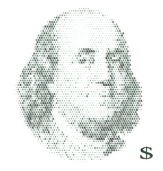 Franklin portrait with dollar simbols vector