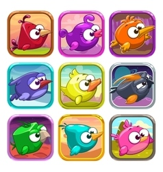 Funny cartoon birds app icons vector
