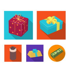 Gift box with bow gift baggifts and certificates vector