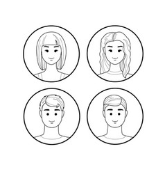 girls and guys avatar lines vector image