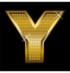 Golden font type letter Y vector