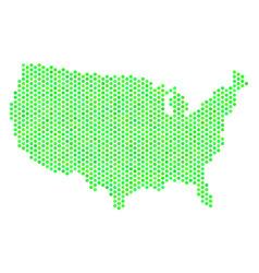 Green hexagon usa map vector