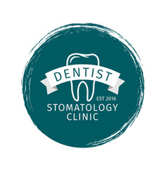 grunge style dental clinic label vector image