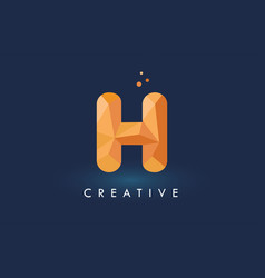H letter with origami triangles logo creative vector
