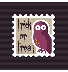 Halloween owl stamp vector image