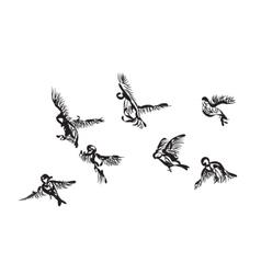 Hand-drawn bird doodles vector image
