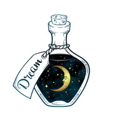 Hand drawn dream in bottle with moon and stars vector