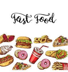 Hand drawn fast food elements vector