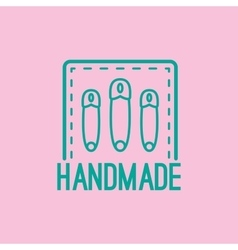 Handmade colorful logo design with pins vector