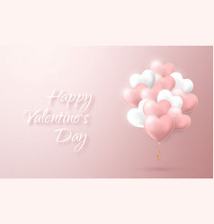 happy valentines day background flying bunch of vector image