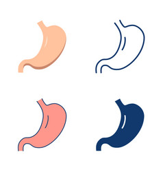 human stomach icon set in flat and line style vector image