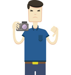 image of an asian with a camera vector image