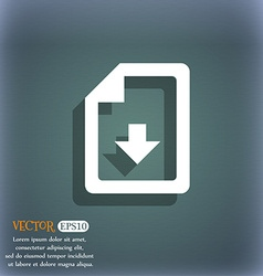 Import download file icon symbol on the blue-green vector